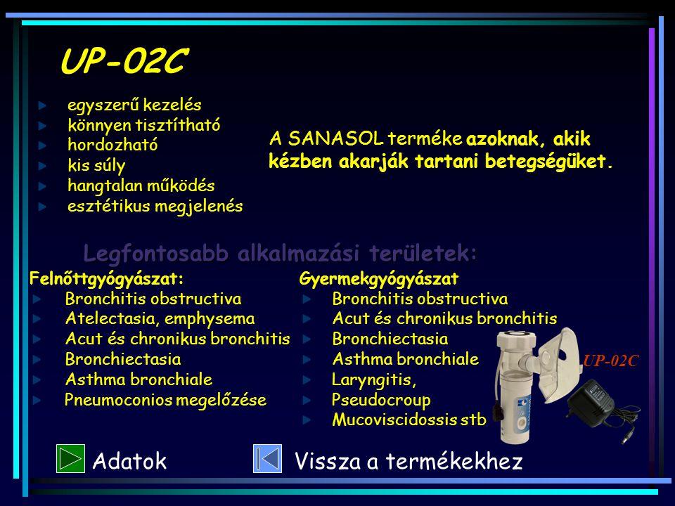 UP-02C A SANASOL terméke azoknak, akik kézben akarják tartani betegségüket. Legfontosabb alkalmazási területek: Felnőttgyógyászat: Bronchitis obstruct
