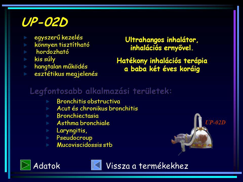 UP-02D Legfontosabb alkalmazási területek: Bronchitis obstructiva Acut és chronikus bronchitis Bronchiectasia Asthma bronchiale Laryngitis, Pseudocrou