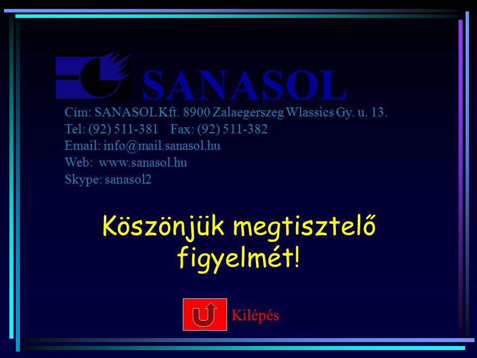 SANASOL Köszönjük megtisztelő figyelmét! Kilépés Cím: SANASOL Kft. 8900 Zalaegerszeg Wlassics Gy. u. 13. Tel: (92) 511-381 Fax: (92) 511-382 Email: in