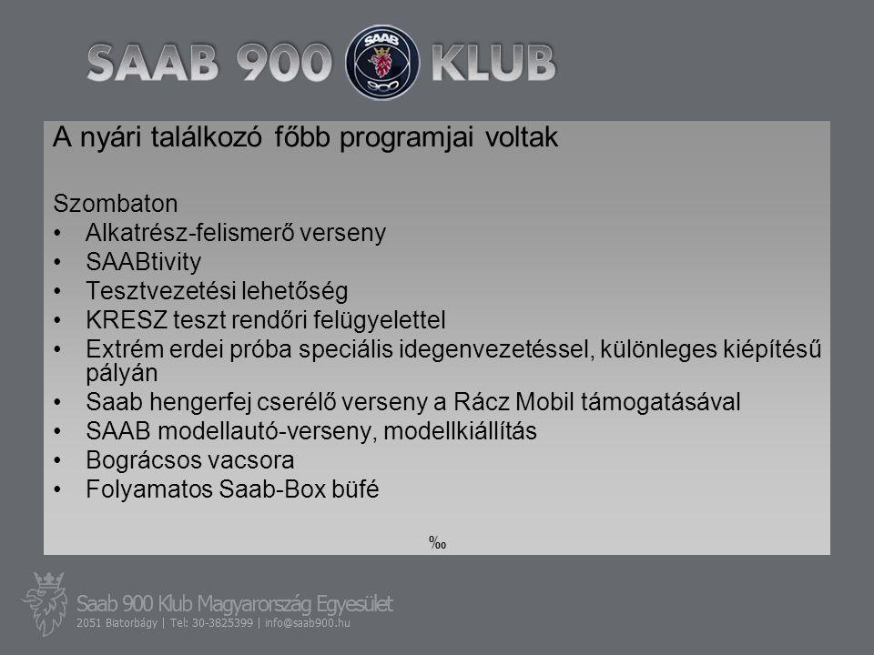 A nyári találkozó főbb programjai voltak Szombaton •Alkatrész-felismerő verseny •SAABtivity •Tesztvezetési lehetőség •KRESZ teszt rendőri felügyelettel •Extrém erdei próba speciális idegenvezetéssel, különleges kiépítésű pályán •Saab hengerfej cserélő verseny a Rácz Mobil támogatásával •SAAB modellautó-verseny, modellkiállítás •Bográcsos vacsora •Folyamatos Saab-Box büfé ‰