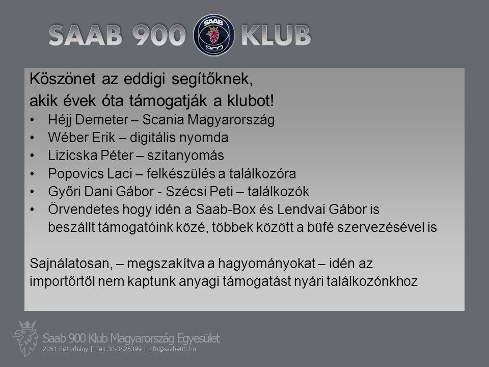 Köszönet az eddigi segítőknek, akik évek óta támogatják a klubot! •Héjj Demeter – Scania Magyarország •Wéber Erik – digitális nyomda •Lizicska Péter –