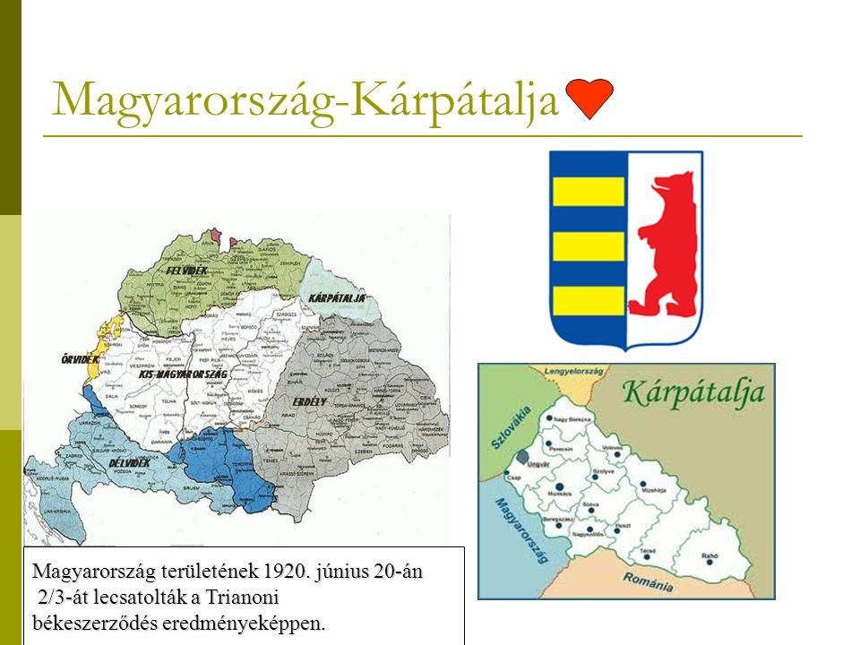 Magyarország-Kárpátalja Magyarország területének 1920. június 20-án 2/3-át lecsatolták a Trianoni 2/3-át lecsatolták a Trianoni békeszerződés eredmény