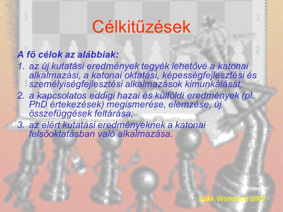 Sakk Workshop 2007 Célkitűzések A fő célok az alábbiak: 1.az új kutatási eredmények tegyék lehetővé a katonai alkalmazási, a katonai oktatási, képességfejlesztési és személyiségfejlesztési alkalmazások kimunkálását; 2.a kapcsolatos eddigi hazai és külföldi eredmények (pl.