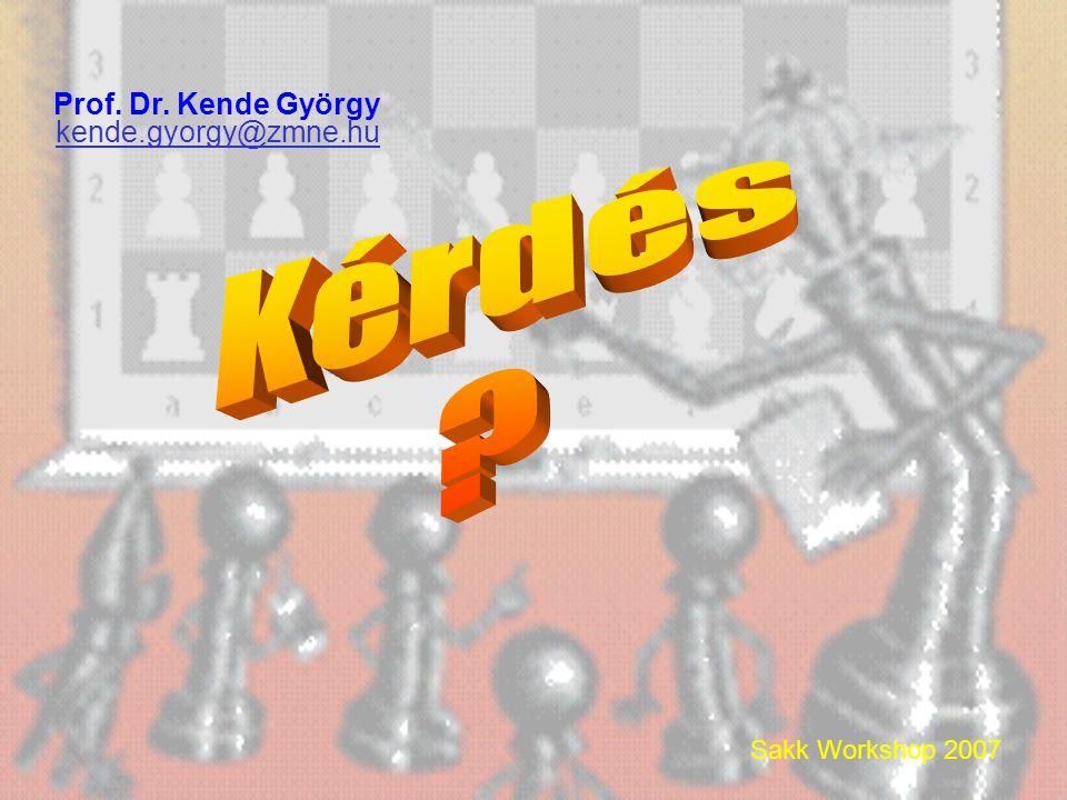 Sakk Workshop 2007 Prof. Dr. Kende György kende.gyorgy@zmne.hu