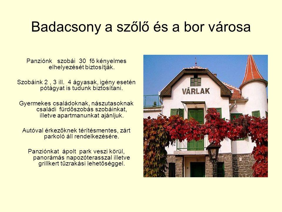 Badacsony a szőlő és a bor városa Panziónk szobái 30 fő kényelmes elhelyezését biztosítják. Szobáink 2, 3 ill. 4 ágyasak, igény esetén pótágyat is tud