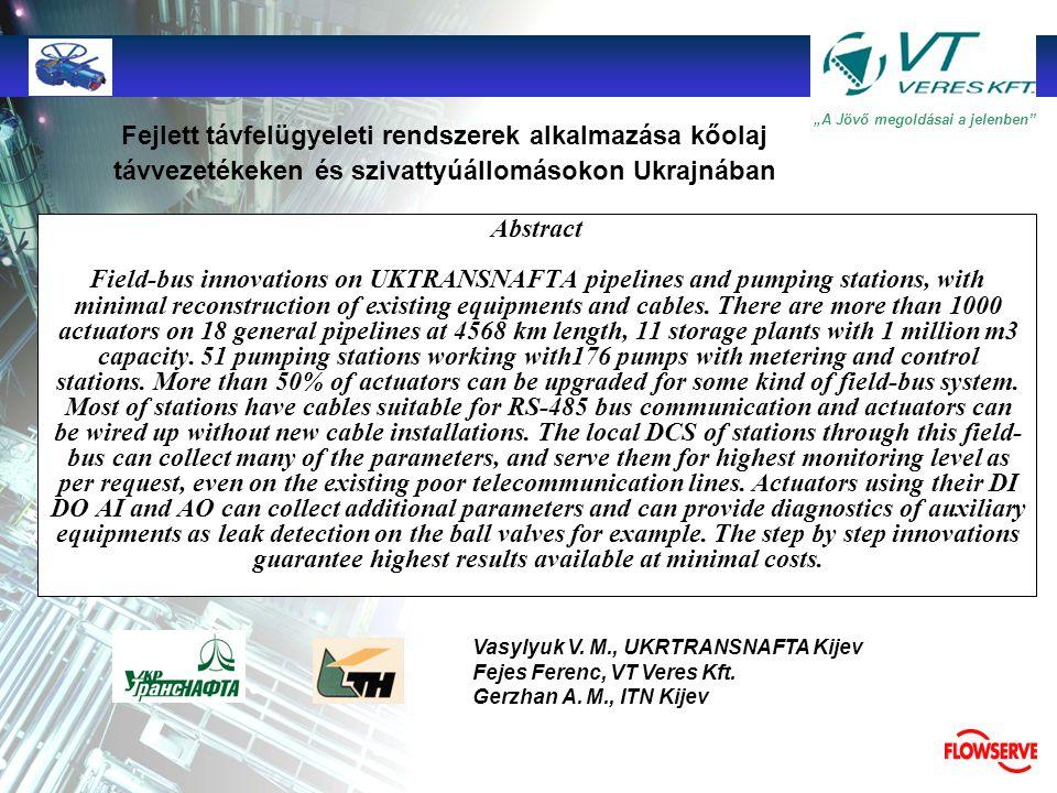 """TMTM """"A Jövő megoldásai a jelenben"""" Fejlett távfelügyeleti rendszerek alkalmazása kőolaj távvezetékeken és szivattyúállomásokon Ukrajnában Vasylyuk V."""