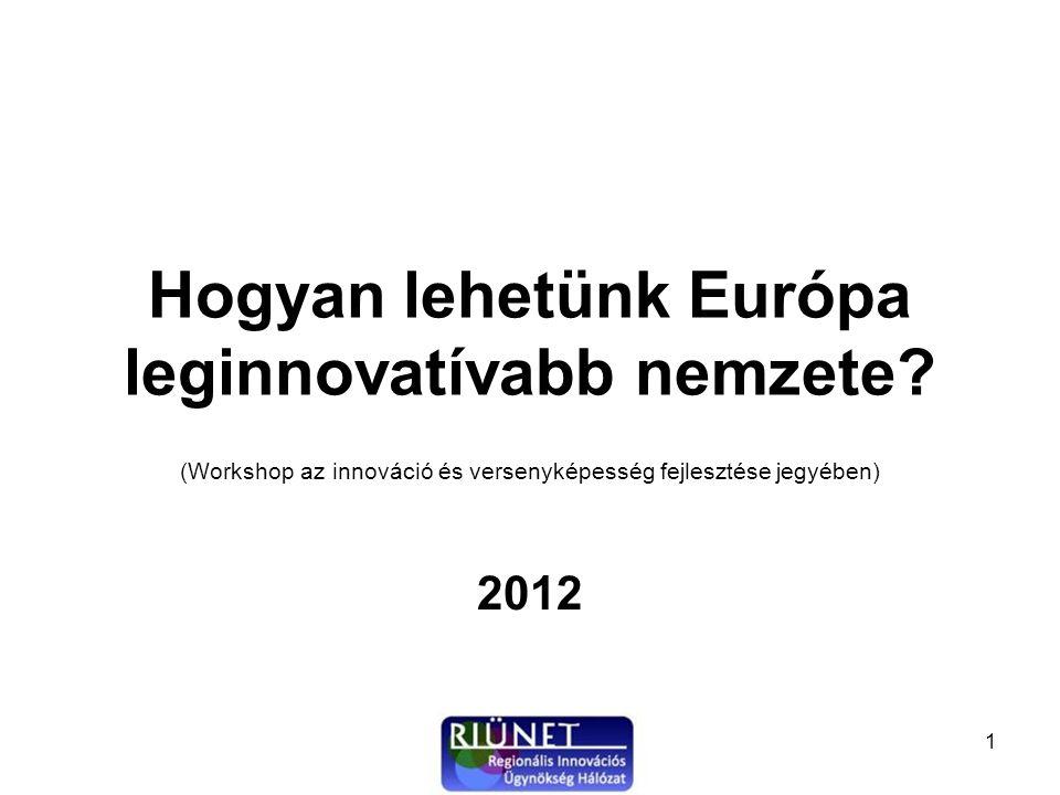 """2 A workshop célja A Nemzeti Innovációs Hivatal által publikált """"Jelentés a vállalati KFI helyzetéről 2012 című tanulmány megállapításainak és a Regionális Innovációs Ügynökségek elmúlt években gyűjtött tapasztalatainak felhasználásával megvizsgáljuk, hogyan és milyen módszerekkel érhető el, hogy magyar gazdaság versenyképessége jelentősen növekedjen a kis-és középvállalatok versenyképességének fokozásával és a képződött kutatási eredmények valamint a termék, eljárás és szolgáltatás ötletek mielőbbi piaci hasznosítása révén."""