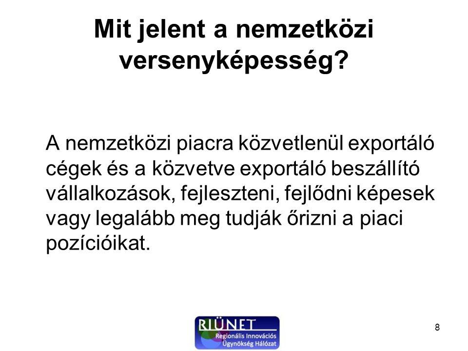 9 Versenyképes vállalkozások –A sikeresen exportáló magyar kis-és középvállalkozások –A beszállítói tevékenységet végzők –Az új termék, eljárás és szolgáltatás ötletek, kutatási eredmények nemzetközi piacra vezetése (start-up, spin-off cégek, licenc és know-how értékesítés) –Technológia intenzív vállalkozások (élenjáró, korszerű technológiát nyújtó technológiai centrumként működő vállalkozások)