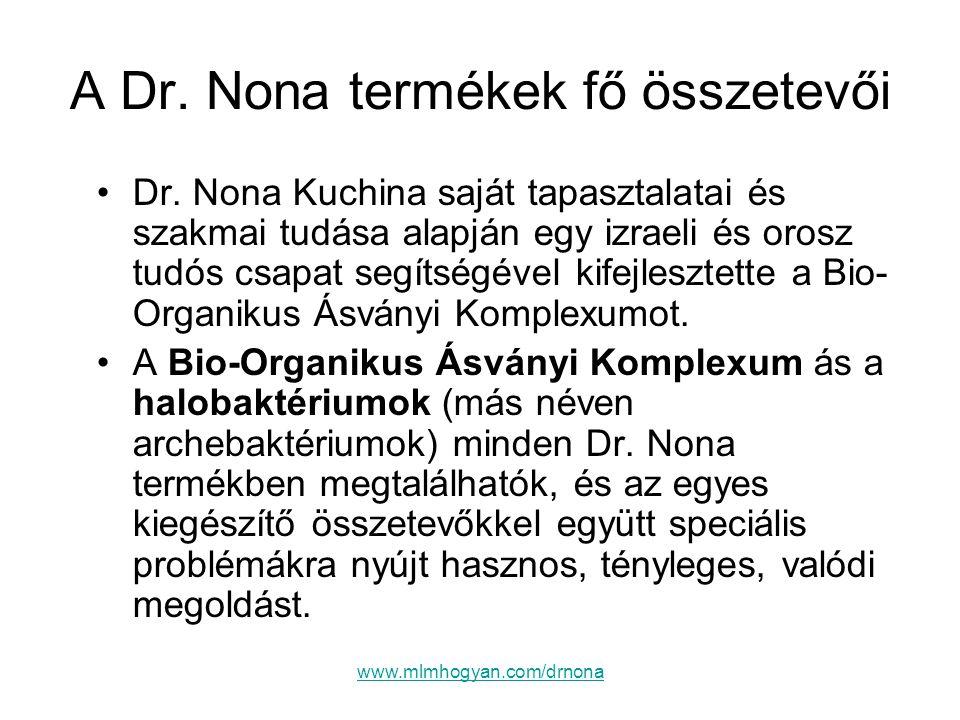 www.mlmhogyan.com/drnona A Dr. Nona termékek fő összetevői •Dr. Nona Kuchina saját tapasztalatai és szakmai tudása alapján egy izraeli és orosz tudós