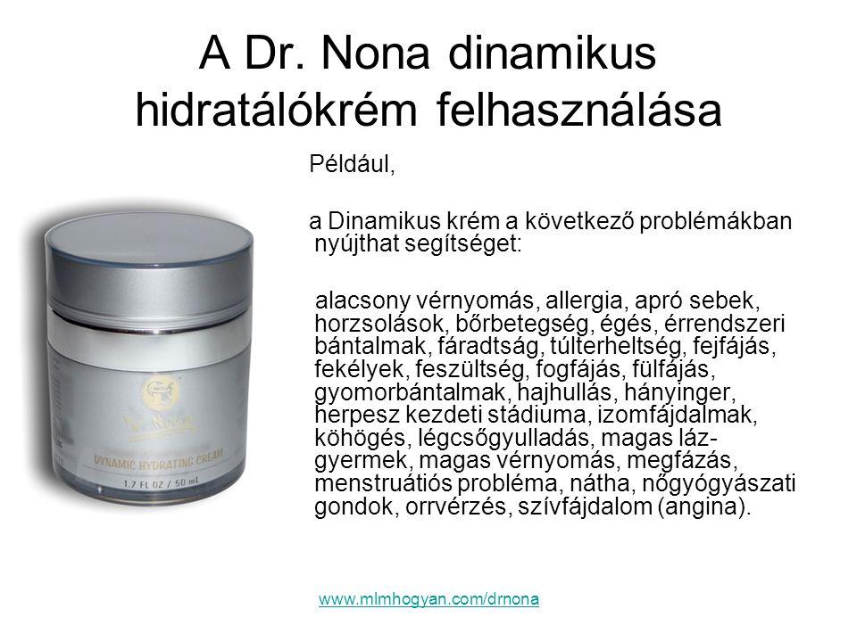 www.mlmhogyan.com/drnona A Dr. Nona dinamikus hidratálókrém felhasználása Például, a Dinamikus krém a következő problémákban nyújthat segítséget: alac