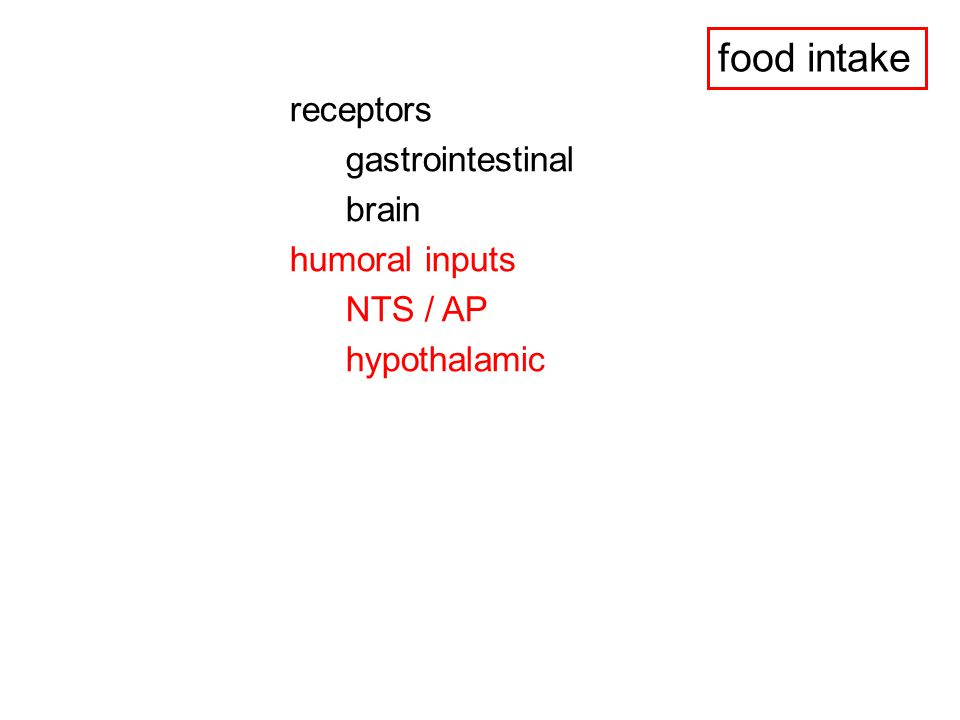 OREXINS (HYPOCRETINS) - orexin enhances food intake when injected into the hypothalamus - orexin levels are markedly elevated during starvation and decrease by refeeding - food deprivation (48 h) upregulates prepro-orexin mRNA levels in the hypothalamus - orexin expression is blocked by leptin - orexin cells are innervated by arcuate NPY and POMC fibers - orexin-1 receptors are present in the ventromedial, orexin-2 receptors in the paraventricular nucleus