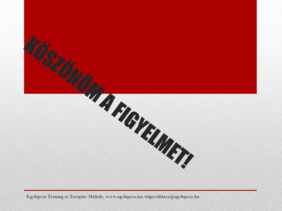 KÖSZÖNÖM A FIGYELMET! Egylépcső Tréning és Terápiás Műhely, www.egylepcso.hu, tolgyesiklara@egylepcso.hu