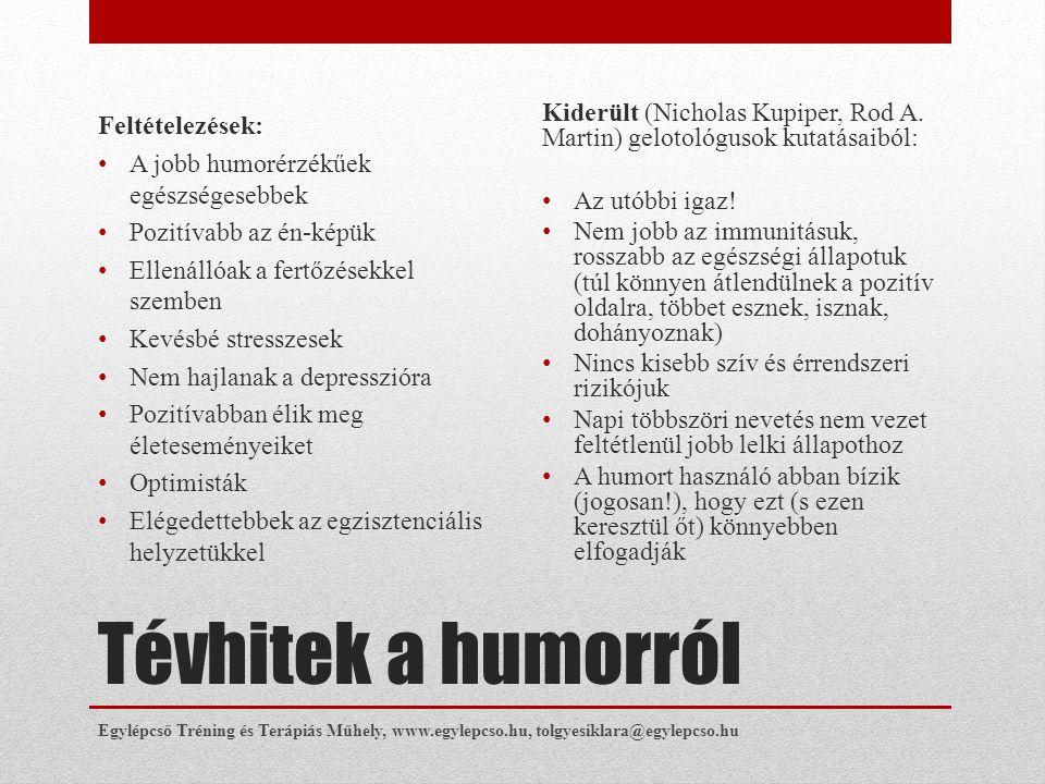 Tévhitek a humorról Feltételezések: • A jobb humorérzékűek egészségesebbek • Pozitívabb az én-képük • Ellenállóak a fertőzésekkel szemben • Kevésbé st