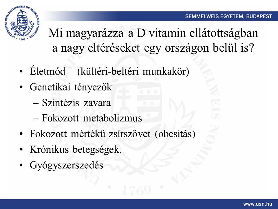 Mi magyarázza a D vitamin ellátottságban a nagy eltéréseket egy országon belül is? •Életmód (kültéri-beltéri munkakör) •Genetikai tényezők –Szintézis