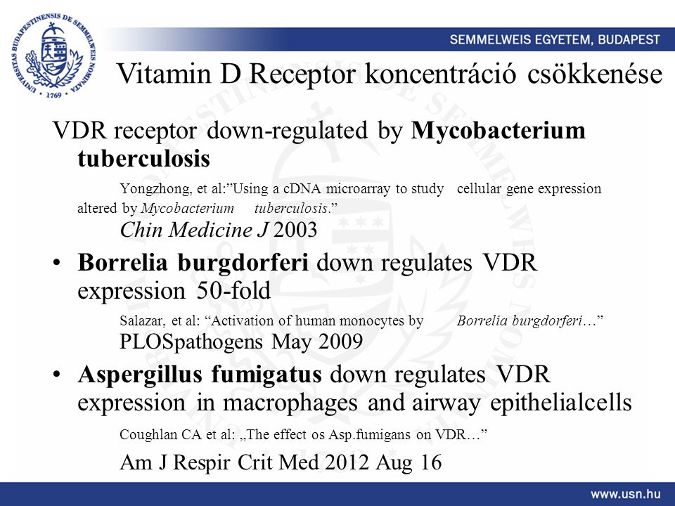 "VDR receptor down-regulated by Mycobacterium tuberculosis Yongzhong, et al:""Using a cDNA microarray to study cellular gene expression altered by Mycob"
