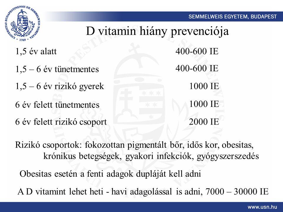 D vitamin hiány prevenciója 1,5 év alatt400-600 IE 1,5 – 6 év tünetmentes 400-600 IE 1,5 – 6 év rizikó gyerek1000 IE 6 év felett tünetmentes 1000 IE 6