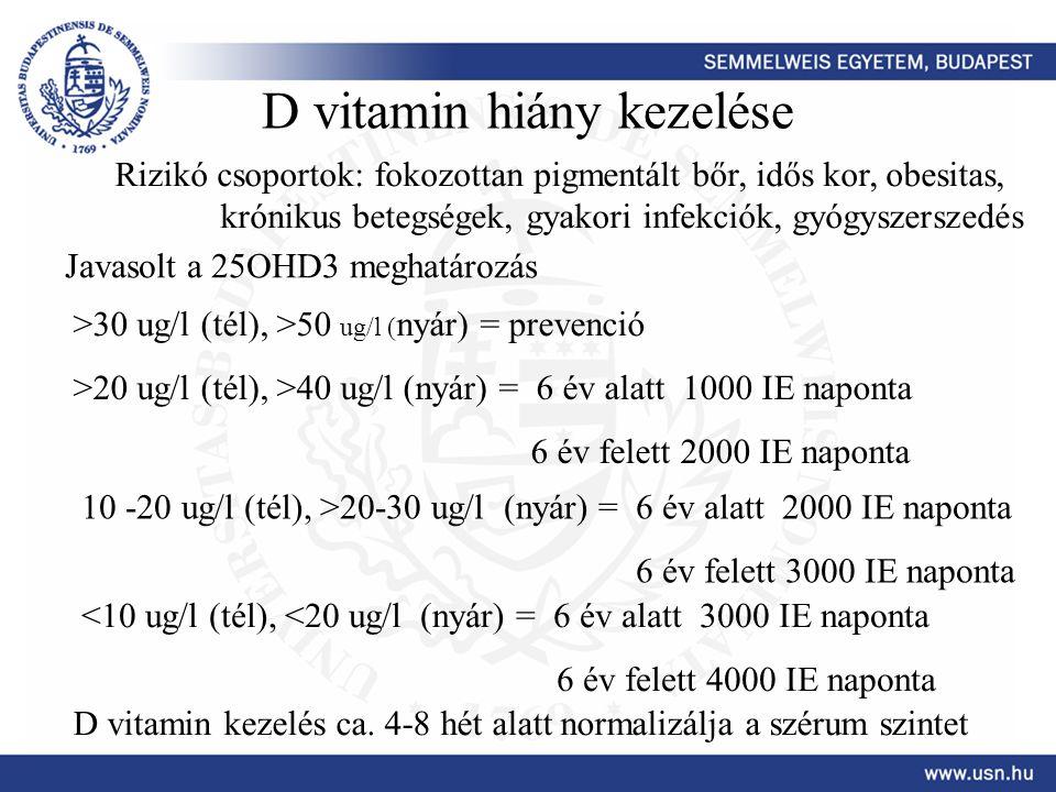D vitamin hiány kezelése Rizikó csoportok: fokozottan pigmentált bőr, idős kor, obesitas, krónikus betegségek, gyakori infekciók, gyógyszerszedés Java