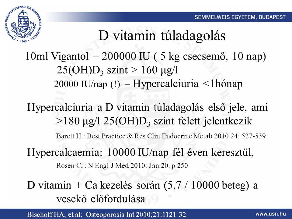 D vitamin túladagolás 10ml Vigantol = 200000 IU ( 5 kg csecsemő, 10 nap) 25(OH)D 3 szint > 160 μg/l 20000 IU/nap (!) = Hypercalciuria <1hónap Hypercal