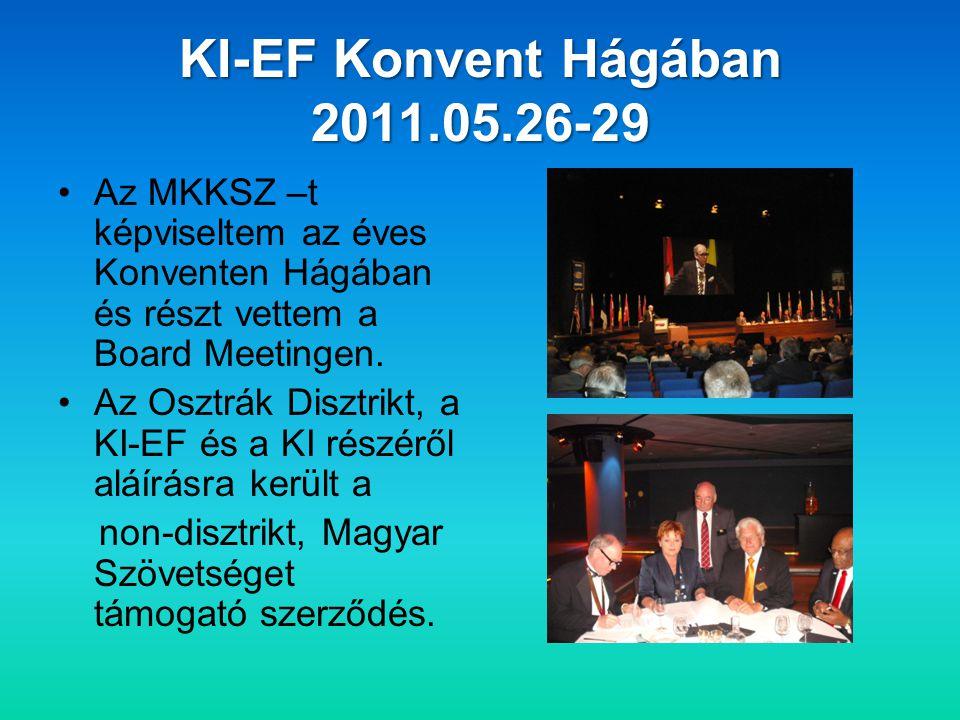 KI-EF Konvent Hágában 2011.05.26-29 •Az MKKSZ –t képviseltem az éves Konventen Hágában és részt vettem a Board Meetingen.