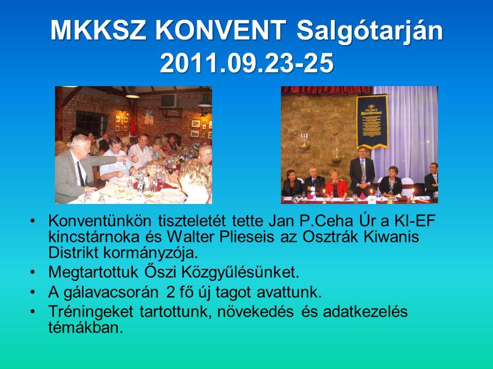 MKKSZ KONVENT Salgótarján 2011.09.23-25 •Konventünkön tiszteletét tette Jan P.Ceha Úr a KI-EF kincstárnoka és Walter Plieseis az Osztrák Kiwanis Distrikt kormányzója.