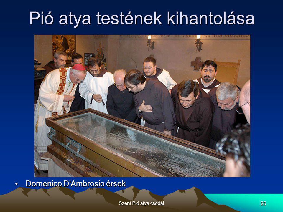 Szent Pió atya csodái26 Tisztelete •Pió atya egyéniségének kisugárzása halála után is tovább tart •Több millió hívő látogat el évente oda, ahol élt –San Giovanni Rotondóba –Egyik leglátogatottabb zarándokhely Olaszországban –Azt követően, hogy holttestét tavaly márciusban kihantolták és kristálykoporsóban helyezték el, több mint 6,5 millióan zarándokoltak el a Madonna delle Grazie bazilikába, hogy a szent földi maradványainál leróják kegyeletüket –Teste épen maradt 40 évig, kivéve az arcát •Az arcát egy élethű szilikonmaszk pótolja •A londoni Madame Tussaud Panoptikum szakembereinek munkája