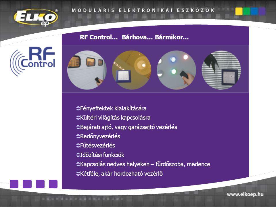 Prvky systému  Fényeffektek kialakítására  Kültéri világítás kapcsolásra  Bejárati ajtó, vagy garázsajtó vezérlés  Redőnyvezérlés  Fűtésvezérlés