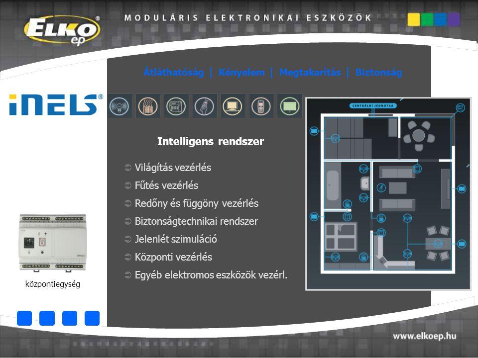  Világítás vezérlés  Fűtés vezérlés  Redőny és függöny vezérlés  Biztonságtechnikai rendszer  Jelenlét szimuláció  Központi vezérlés  Egyéb ele