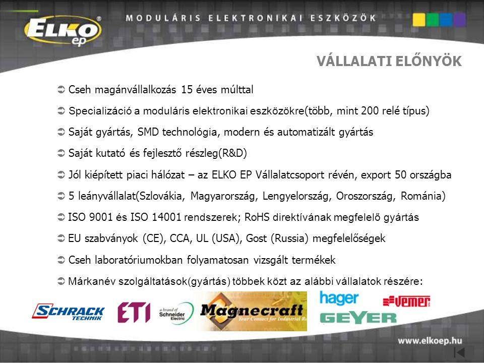 VÁLLALATI ELŐNYÖK  Cseh magánvállalkozás 15 éves múlttal  Specializáció a moduláris elektronikai eszközökre (több, mint 200 relé típus)  Saját gyár