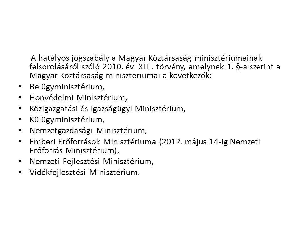 A hatályos jogszabály a Magyar Köztársaság minisztériumainak felsorolásáról szóló 2010. évi XLII. törvény, amelynek 1. §-a szerint a Magyar Köztársasá