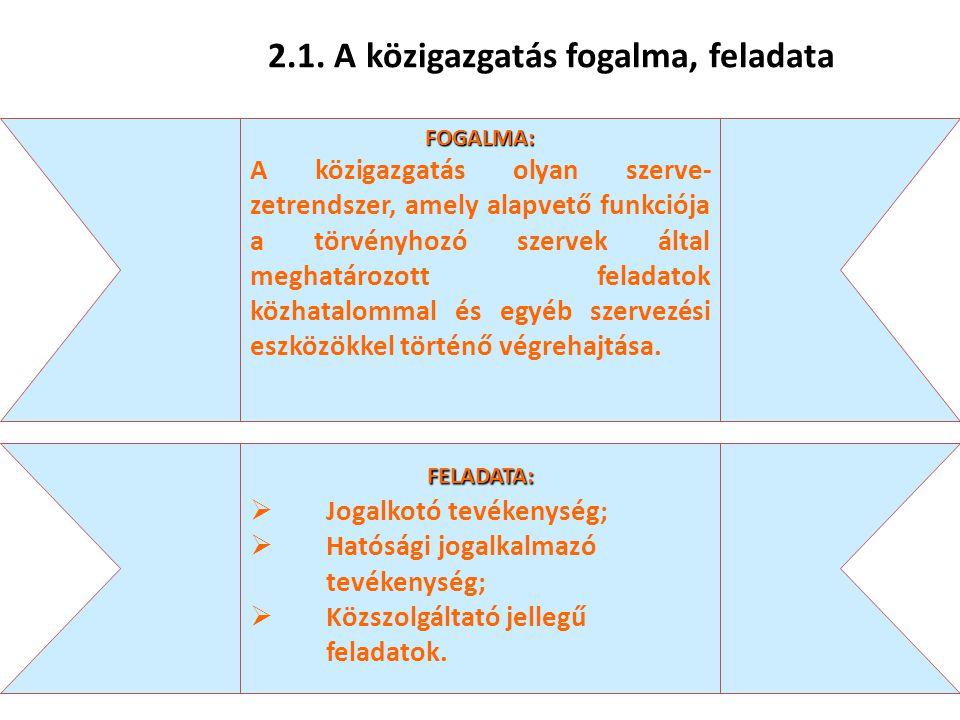 23 2.1. A közigazgatás fogalma, feladata FOGALMA: A közigazgatás olyan szerve- zetrendszer, amely alapvető funkciója a törvényhozó szervek által megha