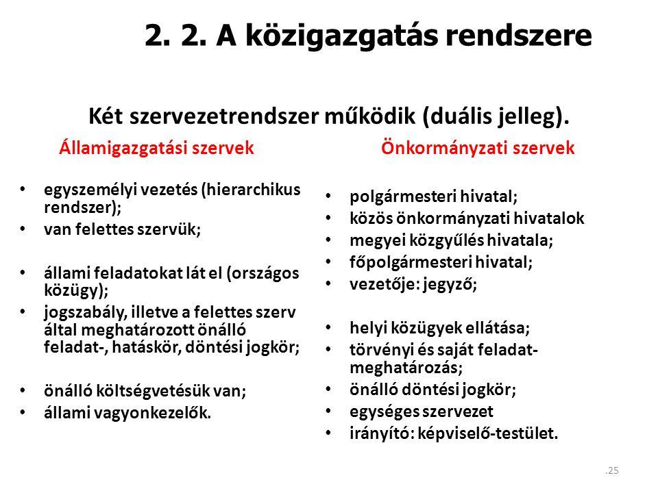 2. 2. A közigazgatás rendszere • egyszemélyi vezetés (hierarchikus rendszer); • van felettes szervük; • állami feladatokat lát el (országos közügy); •