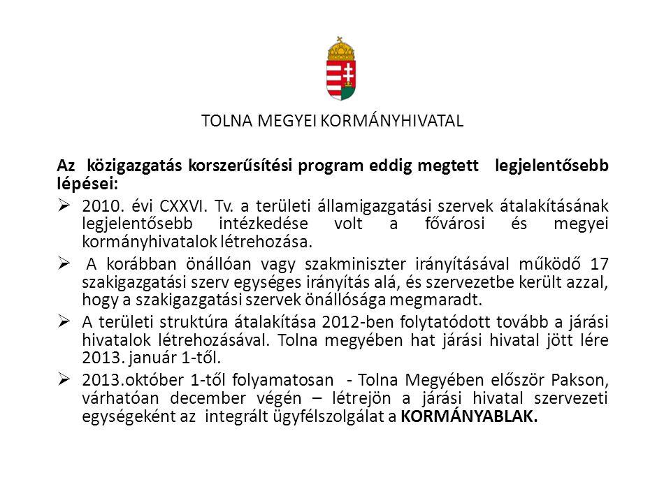 TOLNA MEGYEI KORMÁNYHIVATAL Az közigazgatás korszerűsítési program eddig megtett legjelentősebb lépései:  2010. évi CXXVI. Tv. a területi államigazga