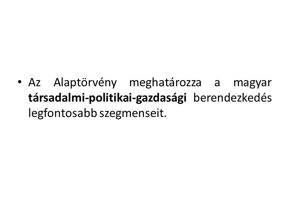 A normaszöveg öt részből áll, melyek sorrendje a következő: • Preambulum (Nemzeti Hitvallás), • Alapvetés (államforma, területi struktúra, jelképek, ünnepek, európai integráció, határon túl élő magyarok és Magyarországon élő nemzetiségek), • Szabadság és felelősség (alkotmányos alapjogok), • Az állam • Különleges jogrend (rendkívüli helyzetek).