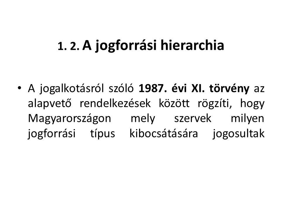 A jogalkotó szervek a következő jogszabályokat alkotják: • a) az Országgyűlés törvényt, • c) a Kormány rendeletet, • d) a miniszterelnök és a Kormány rendeletet, • f) az önkormányzat rendeletet.