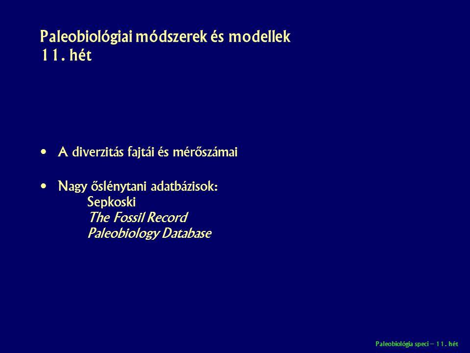 Paleobiológia speci – 11. hét Paleobiológiai módszerek és modellek 11. hét • A diverzitás fajtái és mérőszámai • Nagy őslénytani adatbázisok: Sepkoski