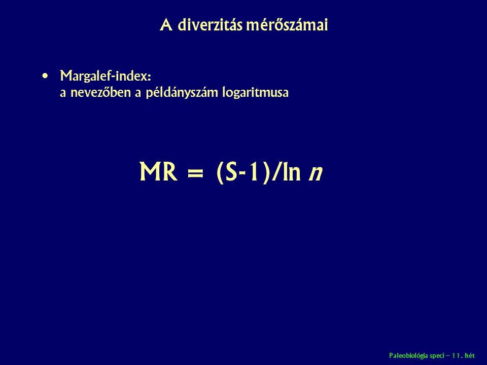 Paleobiológia speci – 11. hét A diverzitás mérőszámai • Margalef-index: a nevezőben a példányszám logaritmusa MR = (S-1)/ln n