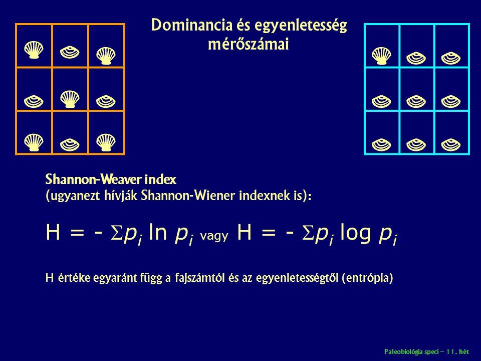 Paleobiológia speci – 11. hét Dominancia és egyenletesség mérőszámai       Shannon-Weaver index (ugyanezt hívják Shannon-Wiener inde