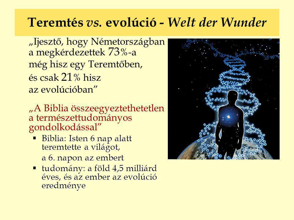 """Teremtés vs. evolúció - Welt der Wunder """"Ijesztő, hogy Németországban a megkérdezettek 73 %-a még hisz egy Teremtőben, és csak 21 % hisz az evolúcióba"""