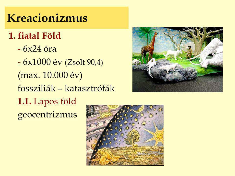 Kreacionizmus 1. fiatal Föld - 6x24 óra - 6x1000 év (Zsolt 90,4) (max. 10.000 év) fossziliák – katasztrófák 1.1. Lapos föld geocentrizmus