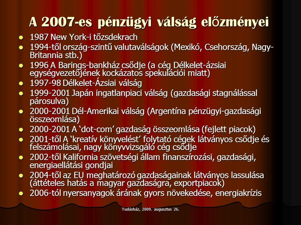 A 2007-es pénzügyi válság el ő zményei  1987 New York-i tőzsdekrach  1994-től ország-szintű valutaválságok (Mexikó, Csehország, Nagy- Britannia stb.