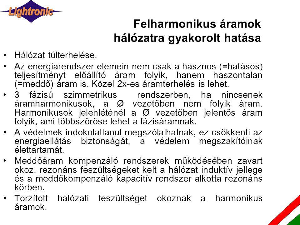 Felharmonikus áramok hálózatra gyakorolt hatása •Hálózat túlterhelése. •Az energiarendszer elemein nem csak a hasznos (=hatásos) teljesítményt előállí