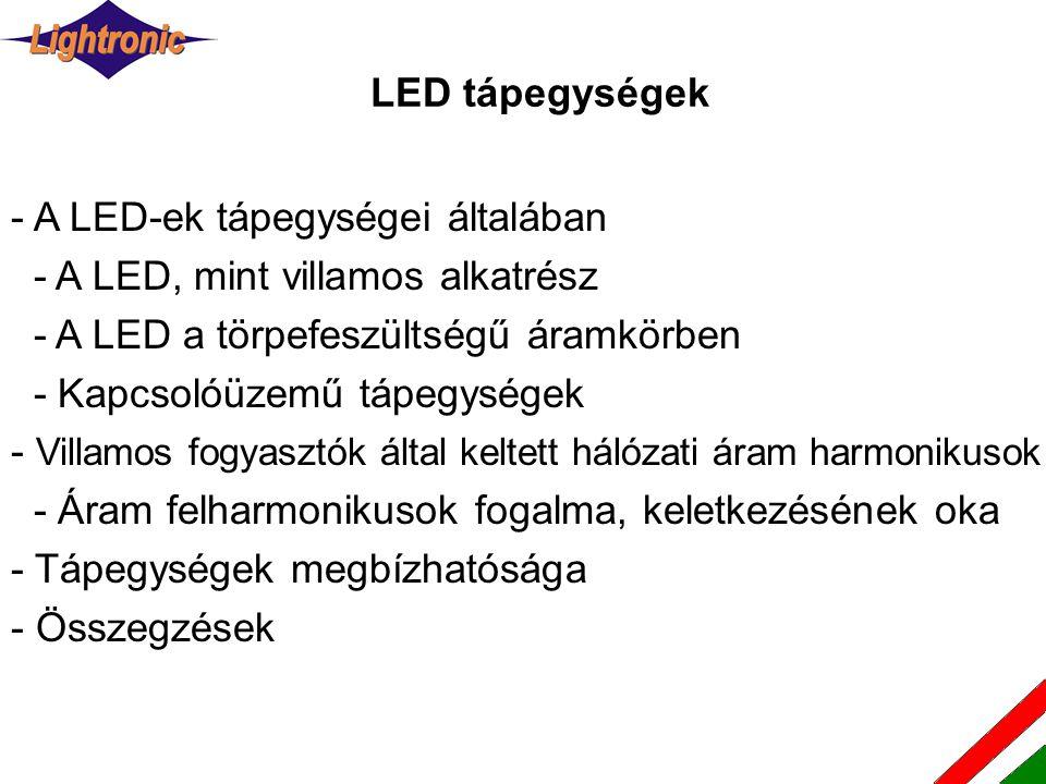LED tápegységek - A LED-ek tápegységei általában - A LED, mint villamos alkatrész - A LED a törpefeszültségű áramkörben - Kapcsolóüzemű tápegységek - Villamos fogyasztók által keltett hálózati áram harmonikusok - Áram felharmonikusok fogalma, keletkezésének oka - Tápegységek megbízhatósága - Összegzések
