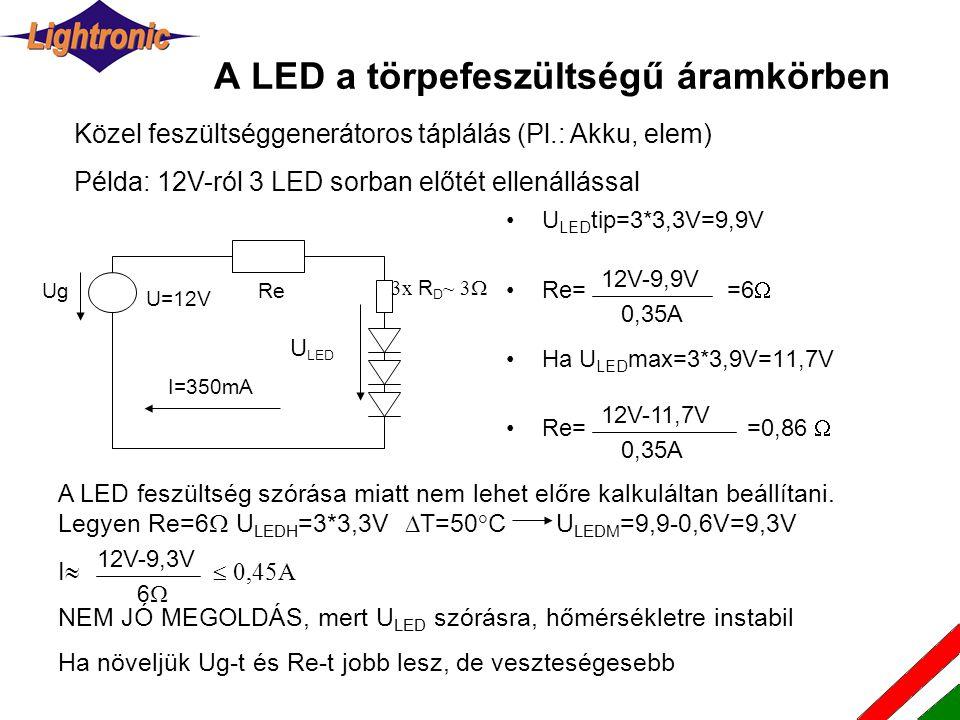 A LED a törpefeszültségű áramkörben •U LED tip=3*3,3V=9,9V •Re= =6  •Ha U LED max=3*3,9V=11,7V •Re= =0,86  Közel feszültséggenerátoros táplálás (Pl.