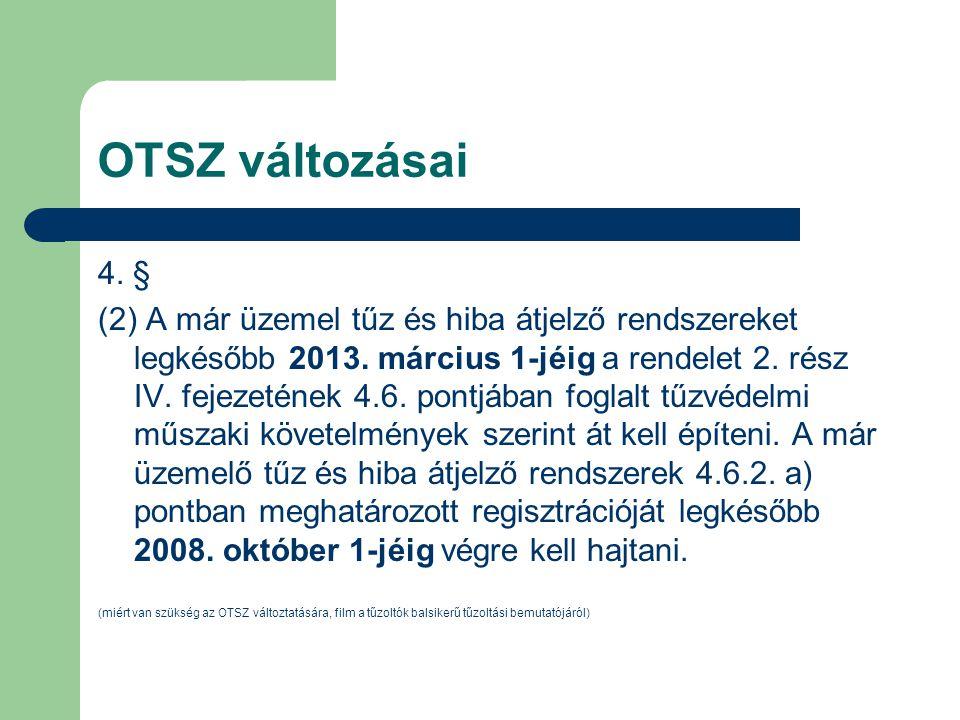 OTSZ változásai 4. § (2) A már üzemel tűz és hiba átjelző rendszereket legkésőbb 2013. március 1-jéig a rendelet 2. rész IV. fejezetének 4.6. pontjába