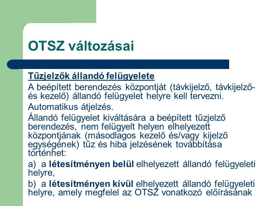 OTSZ változásai Tűzjelzők állandó felügyelete A beépített berendezés központját (távkijelző, távkijelző- és kezelő) állandó felügyelet helyre kell ter