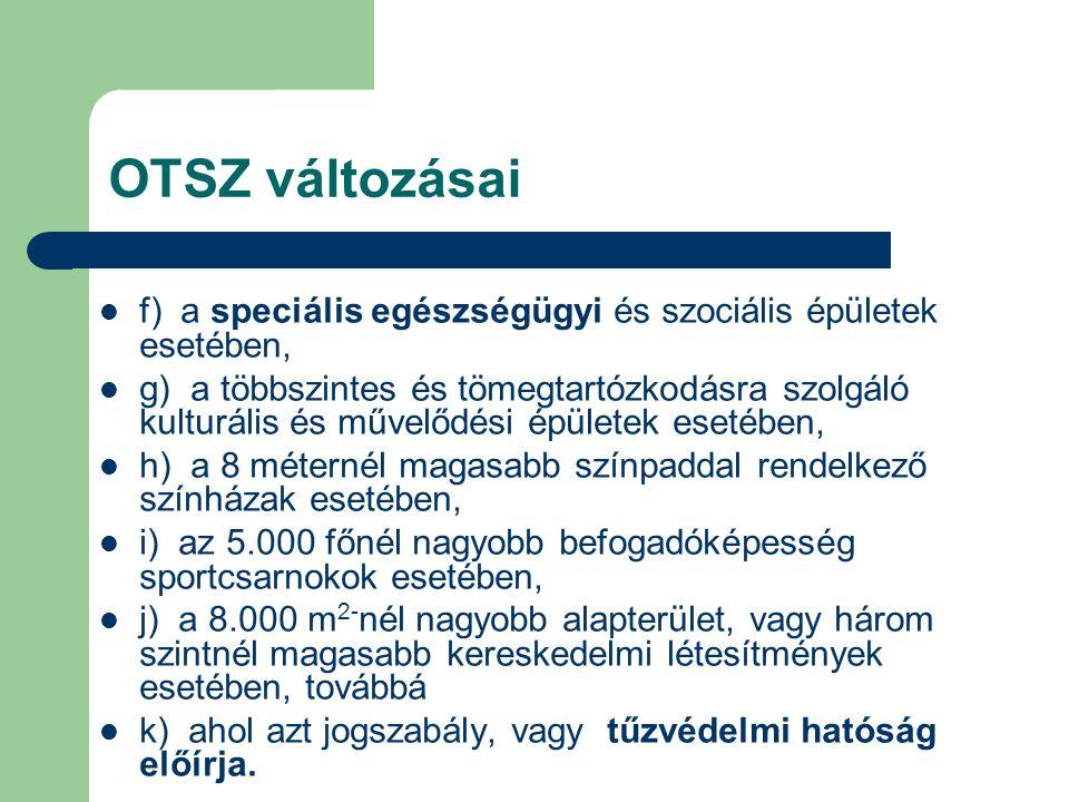 OTSZ változásai  f) a speciális egészségügyi és szociális épületek esetében,  g) a többszintes és tömegtartózkodásra szolgáló kulturális és művelődé