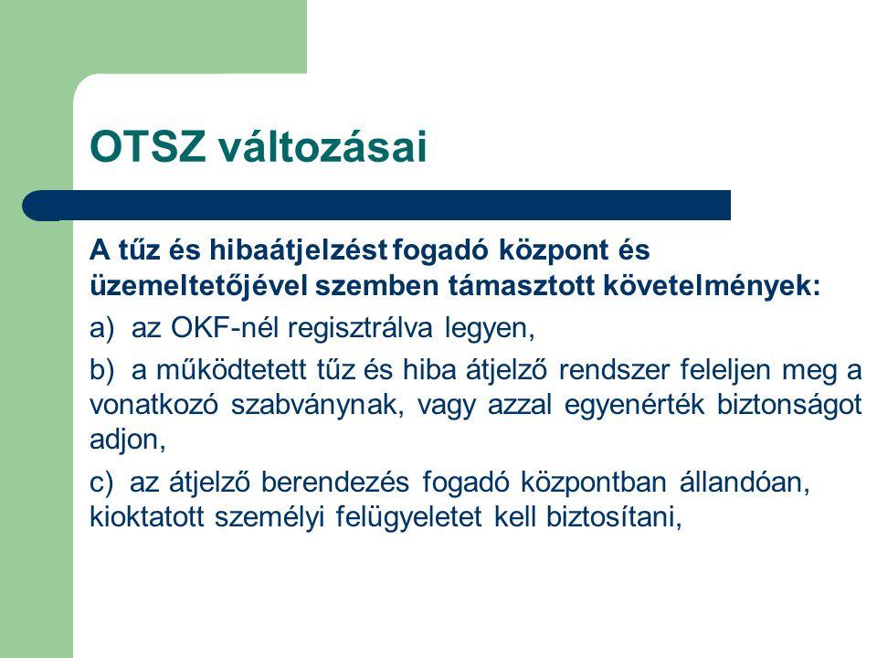 OTSZ változásai A tűz és hibaátjelzést fogadó központ és üzemeltetőjével szemben támasztott követelmények: a) az OKF-nél regisztrálva legyen, b) a műk