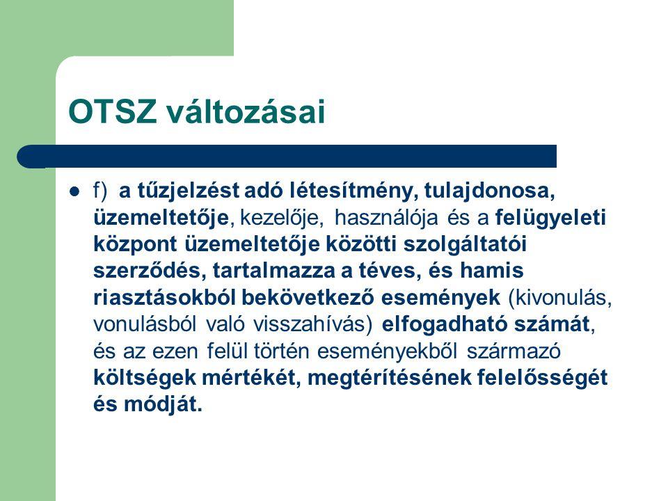 OTSZ változásai  f) a tűzjelzést adó létesítmény, tulajdonosa, üzemeltetője, kezelője, használója és a felügyeleti központ üzemeltetője közötti szolg