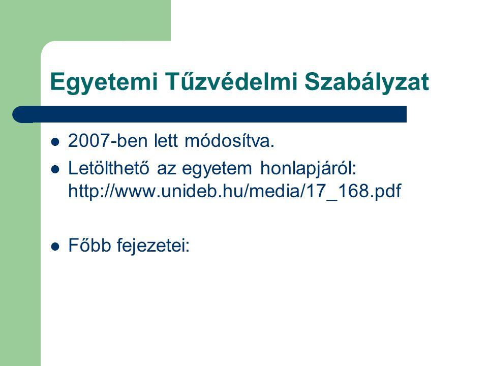 Egyetemi Tűzvédelmi Szabályzat  2007-ben lett módosítva.  Letölthető az egyetem honlapjáról: http://www.unideb.hu/media/17_168.pdf  Főbb fejezetei: