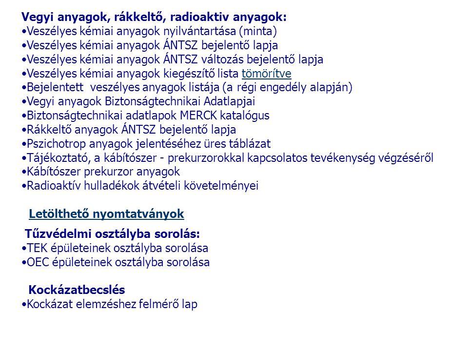 Vegyi anyagok, rákkeltő, radioaktiv anyagok: •Veszélyes kémiai anyagok nyilvántartása (minta) •Veszélyes kémiai anyagok ÁNTSZ bejelentő lapja •Veszély